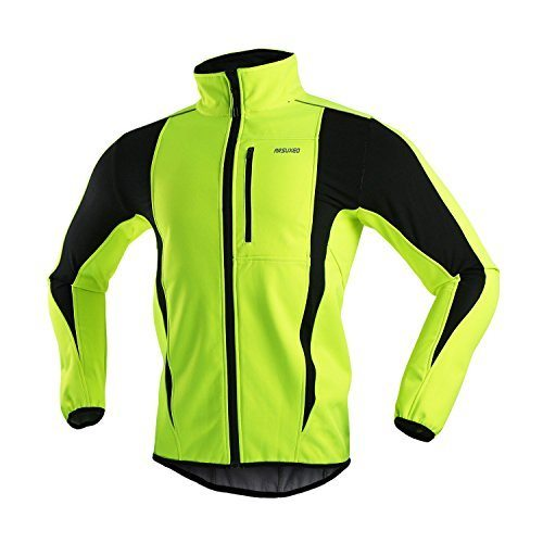 ARSUXEO Winter Warm UP Thermal Softshell Cycling Jacket Windproof Waterproof Bicycle MTB Mountain Bike Clothes 15-K Green Size Large