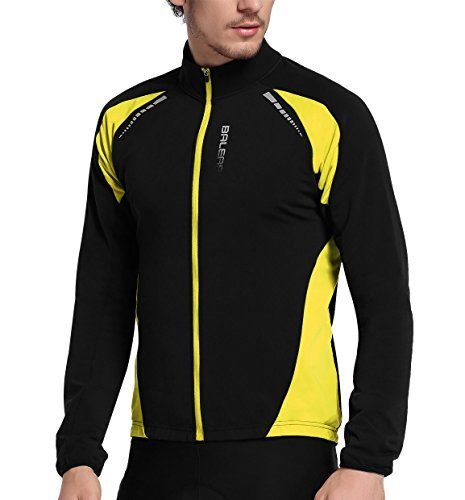 BALEAF Men's Thermal Cycling Jersey Long Sleeve Windproof Jacket Black Yellow Size L