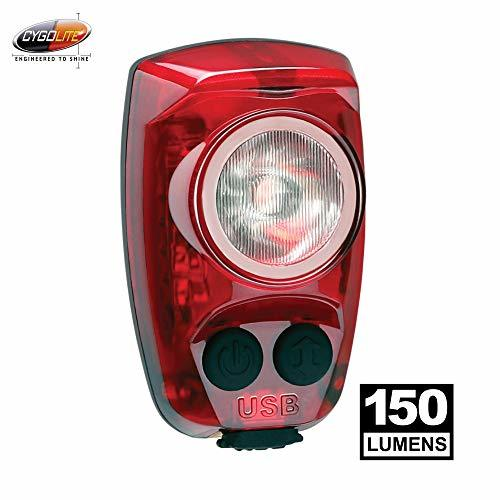 Cygolite Hotshot Pro– 150 Lumen Bike Tail Light– 6 Night & Daytime Modes– User Tuneable Flash Speed– Compact Design– IP64 Water Resistant– Secured Hard Mount– USB Rechargeable– Great for Busy Roads