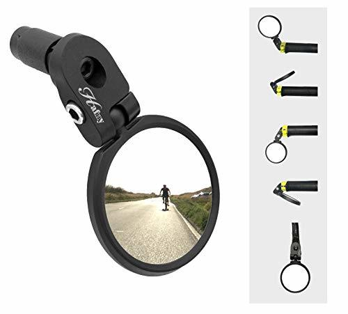 #2 - Hafny Bar End Bike Mirror, Stainless Steel Mirror, Safe Rearview Mirror, HF-MR083 (Black 62mm)