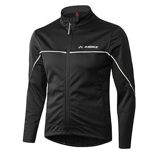 INBIKE Men's Cycling Jacket, Winter Fleece Thermal Windproof Soft Shell Wind Coat (L, TJJ) Black