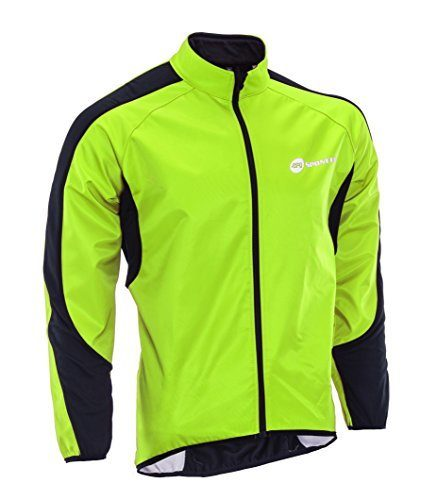 sponeed Cycling Jacket Winter Windproof Jackets Men Fleece Bicycle Jersey Thermal M Green