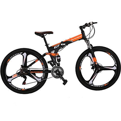 "Best Folding - Eurobike 27.5"" 21-Speed Full Suspension Folding Mountain Bike"